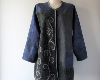 Women Felted jacket Wool  coat violet grey jasket  felt coat autumn wool women sweater by Galafilc