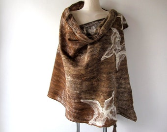 Felted scarf Brown felted stole Long wool scarf  felted  shawl Wool stole  plus size shawl by Galafilc
