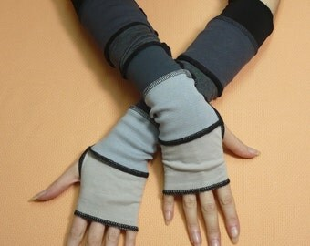 SALE Long Fingerless Gloves Black Grey Shades, Segmented Traveler Armwarmers with Thumb Holes, Comfortable Jersey Sleeves, Pale, Dark Grey