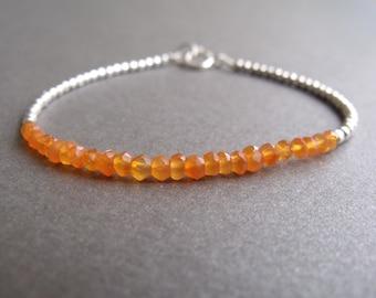 Orange Carnelian Gemstone and Sterling Silver Bead Stacking Bracelet