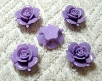Light Purple Rose Flower Beads - Resin - (20mm x 10mm) - (5 Pcs) - B-1718