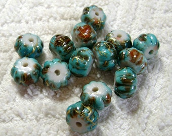 DodgeBlue Spray Painted Drawbench Acrylic Beads - Ribbon Barrel Beads - (12mmx6mm) - (14 Pcs) - B-1751