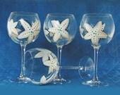 Beach Wedding Bridesmaid's Wine Glasses - Hand-Painted Starfish Glasses, in White Gray Aqua Set of 7 - Resort Wedding Party Wine Glasses