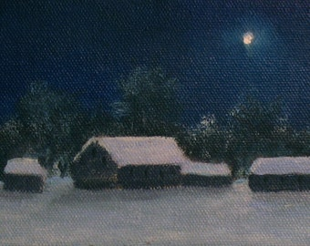 """Moon painting, snow painting, night painting, nocturne, winter paintings, winter landscape, Christmas Eve paintings, 4""""x 12"""" canvas"""