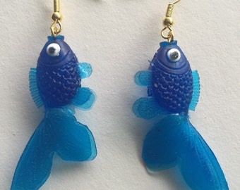 Blue Goldfish Earrings