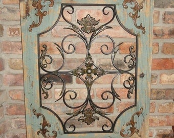 Rustic Turquoise Wood & Metal Wall Decor Cottage Chic Shabby Home Decor French Country Design Fleur De Lis Wall Garden Decor Gift Ideas.