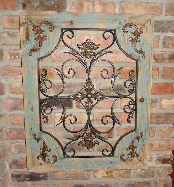 rustic turquoise wood metal wall decor cottage chic shabby. Black Bedroom Furniture Sets. Home Design Ideas