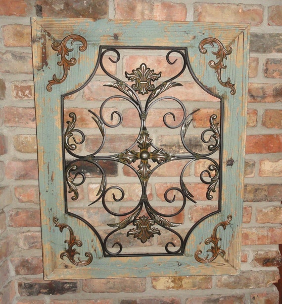 Wood Metal Wall Decor Mesmerizing Rustic Turquoise Wood & Metal Wall Decor Cottage Chic Shabby Review