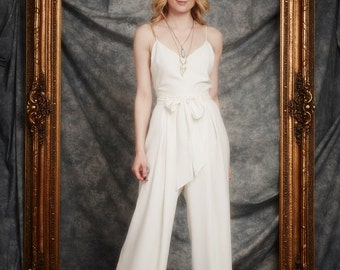 Lucas Jumpsuit, Cami-style bodice with Keyhole back, Wide Leg trouser