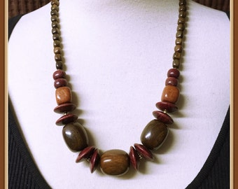 Brown Wood Beaded Necklace, Earth Tones, Olive Green Hue, Vintage 1980's