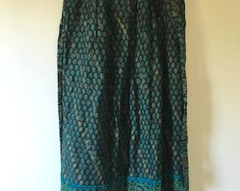 vintage.  Black Indian Soft Thin Cotton Wrap Skirt / Gauze Cotton Color Blocked Skirt // S M