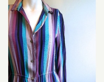 ON SALE vintage.  60s Striped Silk Dress //  Stanley Sherman at Saks Fifth Ave // M to L