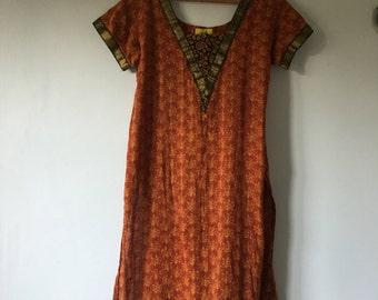 Vintage Bohemian Indian Tunic • Indian Long Tunic • Orange Thin Cotton Tunic Top • Bohemian Top • Boho Tunic • Indian Hippie