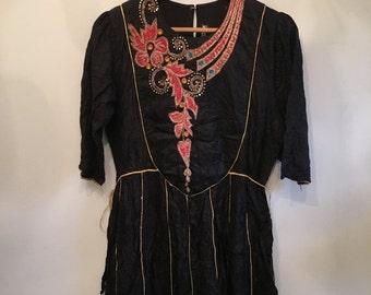 ON SALE 60s 70s  Boho Silk Dress  • Rare Handmade Black Indian Dress • Unique Dress