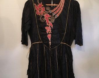 60s 70s  Boho Silk Dress  • Rare Handmade Black Indian Dress • Unique Dress