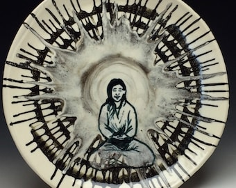 Ceramic Platter with Buddha Glaze Painting, Serving Plate Spin Art Pottery