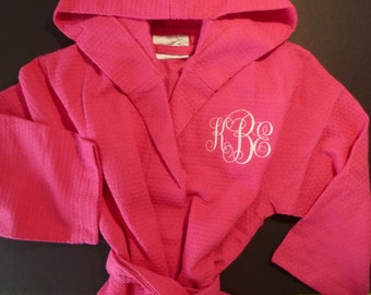 Girls ROBE Monogram Embroidered Hooded Robe Personalized Diamond Weave Robe All Cotton Robe Monogram Childs Robe Custom Embroidered