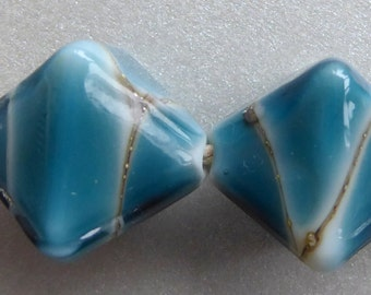 Destash Lampwork glass earring pair aquamarine blue and silvered ivory by A Beaded Gift