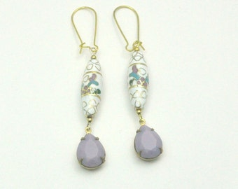 Vintage Cloisonne Earrings Pastel Lavender Drops