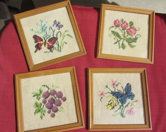 SALE! Set of 4 Framed Needlepoint Pictures Art Butterflies Grapes Floral Flowers Butterfly Fruit Wall Hanging Vintage Mid-Century Lot Wood