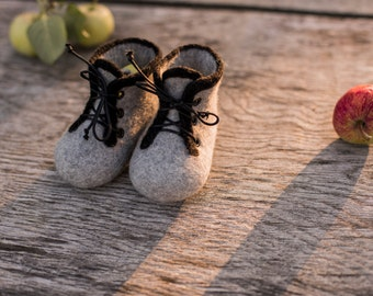 Baby shoes infant boots boys felted baby booties newborn gift baby shower day gift laced shoes grey boots wool shoes girls boots black laces
