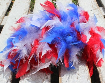 Red White and Blue Feather Bloomer and Headband Set Perfect for Newborn Cake Smash 4th of July Armed Force Army Marines Navy Air Force Photo
