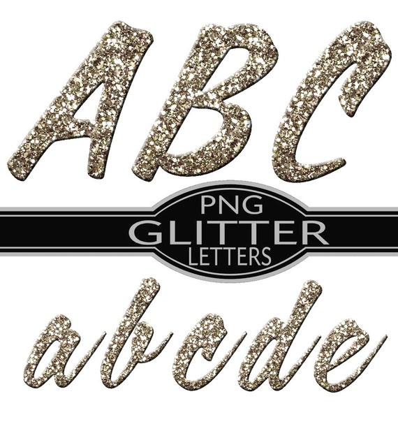 Sparkling Silver Alphabets: Items Similar To Silver Glitter Alphabet PNG Digital