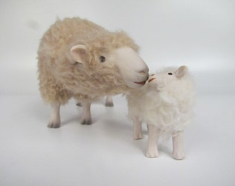 Porcelain and Wool, English  Romney Figure with Lamb with Attitude