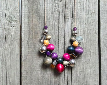 Statement Necklace, beaded wooden necklace, colorful accessories, statement necklaces, colourful neckpiece