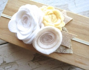 Felt Flower Baby Headband - Cream White Yellow Rosette Bouquet - Plaid and Glitter Accents - Early Spring Pastel Hairband