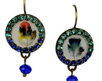 Feather Earrings - Crystal Earrings - Colorful Earrings - Circle Earrings - Statement Earrings - Crystal Jewelry - Feather Jewelry