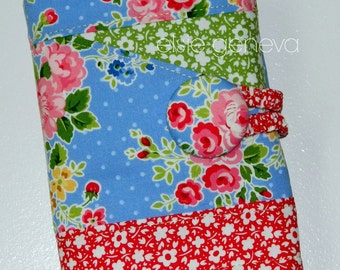 Vintage Blue Pink Red Green Roses Crochet Hook Organizer Notions Pocket or Black Purple Mauve Roses Fabric Option