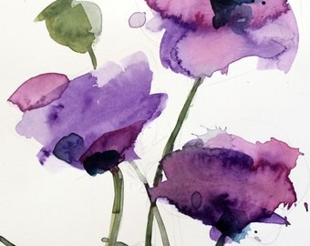 Purple Poppies no. 4 Original Watercolor Floral Painting by Angela Moulton 8 x 10 inch with 11 x 14 inch White Mat
