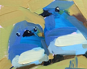 Two Blue Waxbills Original African Birds Oil Painting by Angela Moulton 5 x 5 inch on Birch Plywood Panel pre-order