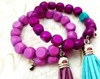 Beaded Bracelet Set - Memory Wire Jewelry - Best Friend Gift - Purple and Teal - Wood Bracelets - Friendship Bracelets - Gifts Under 20