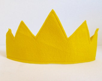 Children's Yellow Felt Crown - Handmade, Dress Up, Costume, King, Queen, Prince, Princess, Superhero