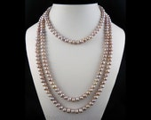 Mauve Pink, Cultured Freshwater Pearls, Silk Hand Knotted, 66 Inch Length, Luminous, Layered Pearl Necklace, Wrap Pearl Bracelet, Jewelry