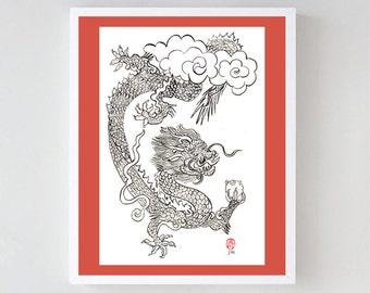 Dragon Year of the Dragon Original Painting Chinese Zodiac, Game of Thrones, zen decor, japan scroll art, childrens room art, taoist art