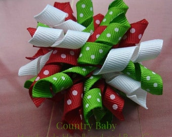 Deal of the Day Discounted with free shipping...Corker Bow Holiday Mix...Corker Bow...Red Green and White Mixed corker bow