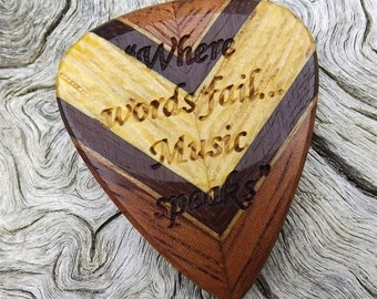 Multi-Wood Guitar Pick - Premium Quality - Handmade - Laser Engraved Both Sides - Actual Pick Shown - Artisan Guitar Pick - Chevron Pattern