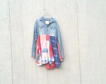 Medium Patriotic USA upcycled boho lagenlook romantic dress Upcycled clothing Patchwork Dress Funky Tunic Dress / Eco / Artsy by CreoleSha