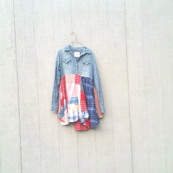 Medium Patriotic USA Upcycled Boho Lagenlook Romantic Dress