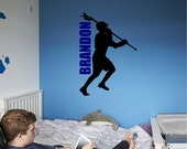 Personalized LaCrosse Player Wall Decal Sticker Removable Lacrosse Wall Art Lettering