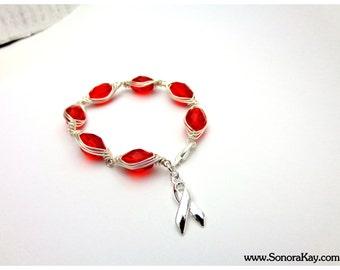 Red Ribbon   Awareness Bracelet Made to Order Herringbone Wire Wrap