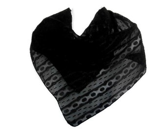 Black Lace Chiffon Scarf.  Woman's Square Scarves.  Classic Black Stripe Square Scarf.  Square Black Fashion Scarf.  Multi-Purpose Scarf