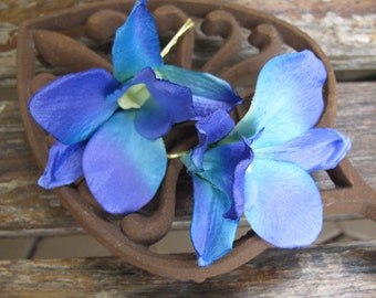 Hawaiian Purple - Blue orchids set of 2 bobby pins - hair flowers  - Wedding-