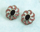 Sterling Silver Chandeliers or Pendants with Onyx and Pink Crystal Beads / Lot of 2 / 925 Sterling / Earring Components / 16mm x 20mm Oval