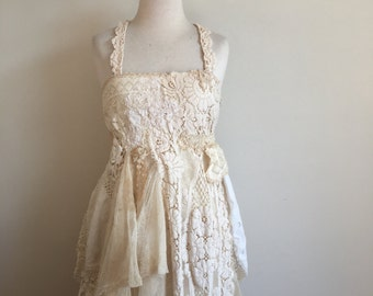 Altered Couture Vintage Crochet Lace maxi Dress. Recycled Vintage Dress. Shabby Chic Lace Dress. Woodland Wedding dress