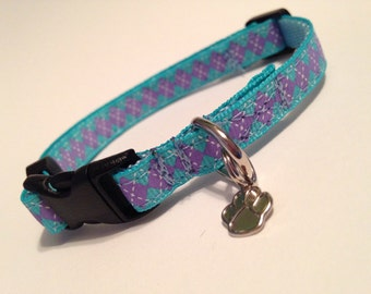 Extra Small-Thin Width- Blue and purple argyle dog collar