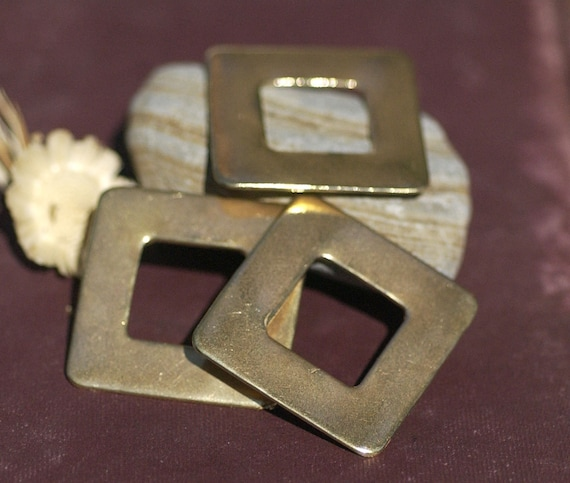 Square 32mm Blank with Square Cutout for Enameling Stamping Blanks Texturing Jewelry Making - Variety of Metals